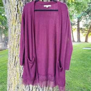 Burgundy Lace Bottom Sweater